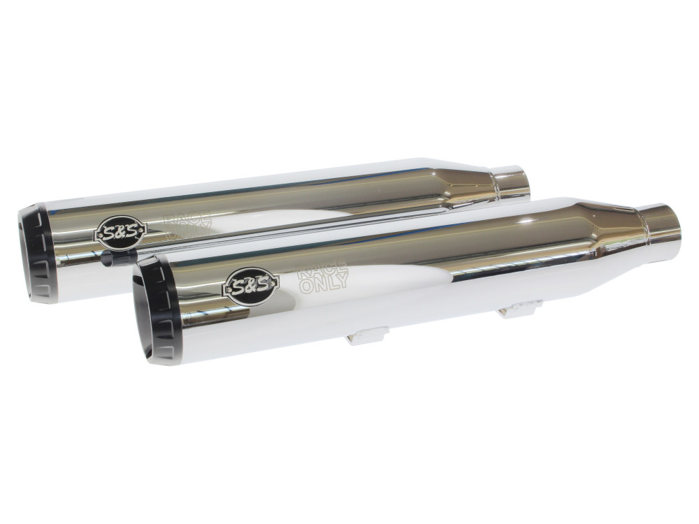 3.5in. Slip-On Mufflers - Chrome with Black End Caps. Fits Sportster 2014up.