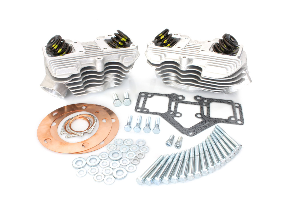 Cylinder Head Kit with Natural Finish. Fits Big Twin 1966-1984 with 3-1/2