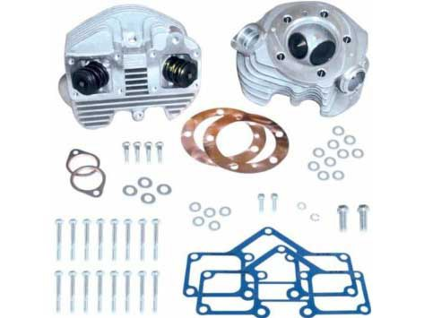 Cylinder Head Kit with Natural Finish. Fits Big Twin 1966-1984 with 3-5/8