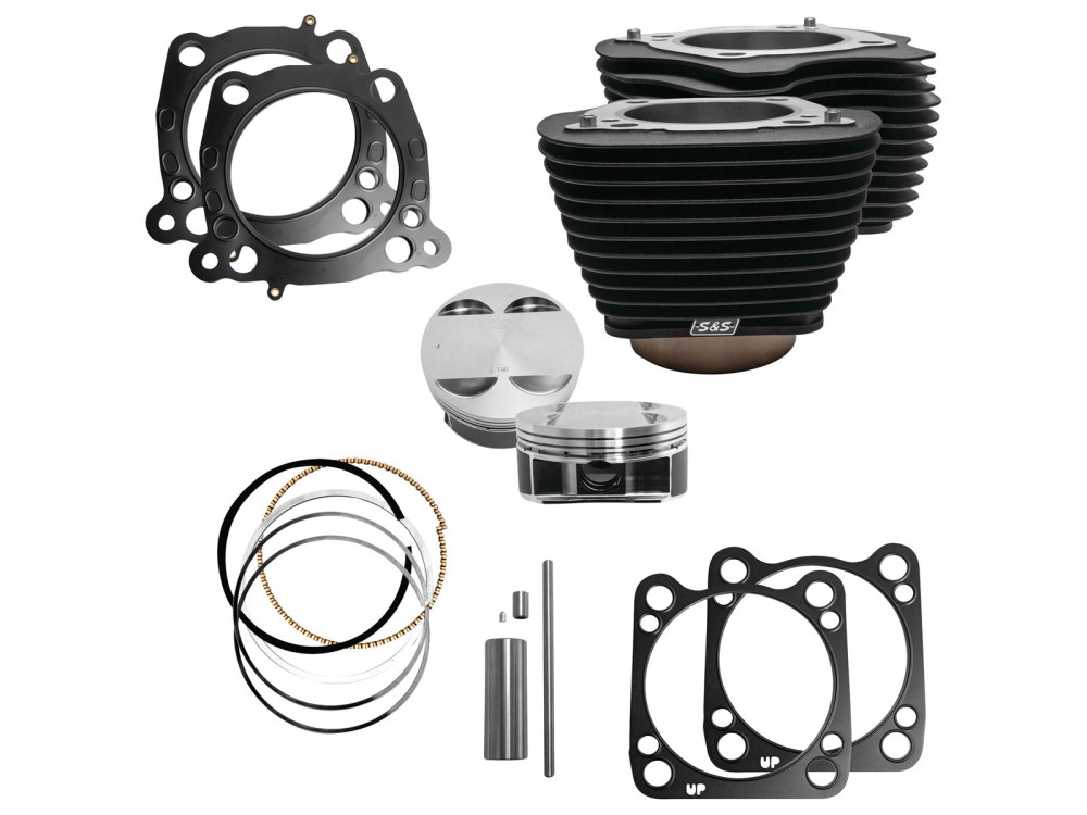 124ci Big Bore Kit; M8 2017up 107->124ci. Black Cylinders with NON-Highlighted Fins