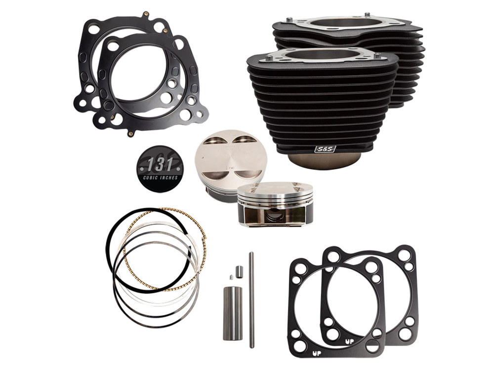 131ci Stroker Big Bore Kit with Non-Highlighted Fins – Black. Fits Milwaukee-Eight 2017up with S&S 4-5/8in. Stroker Flywheel.