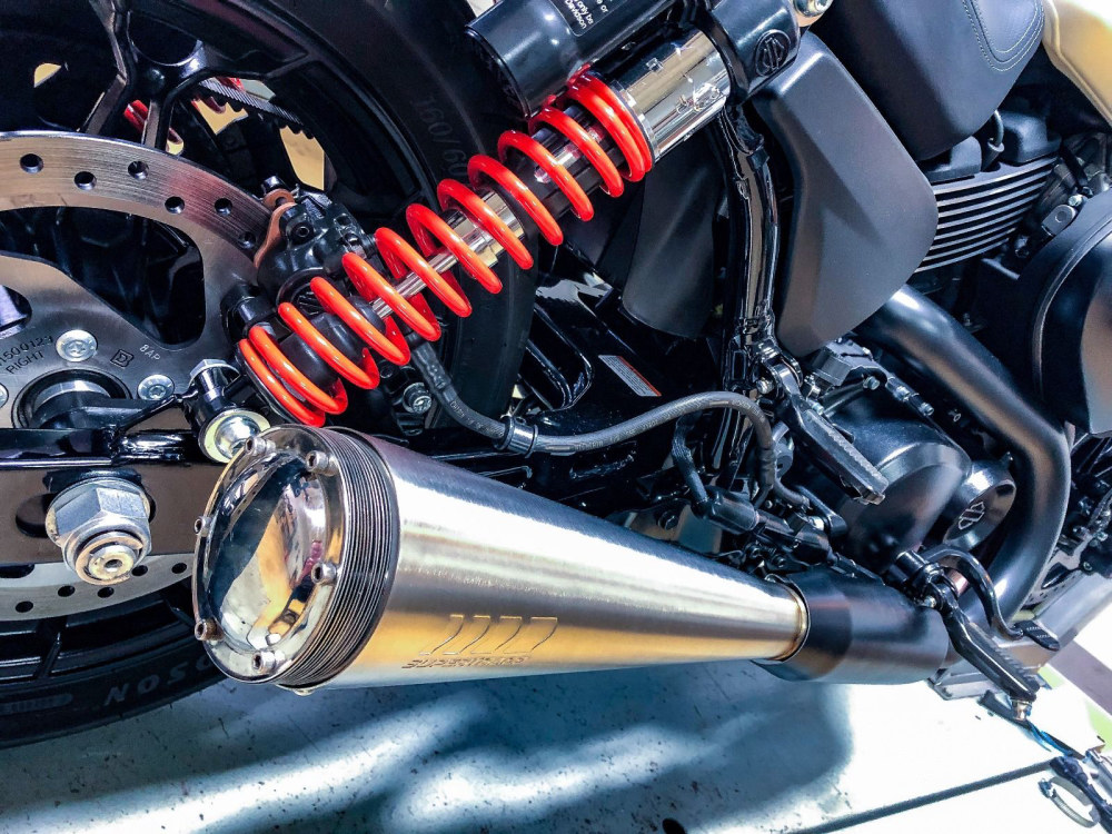 4in. Stout Slip-On Muffler - Stainless. Fits Street 2015up.