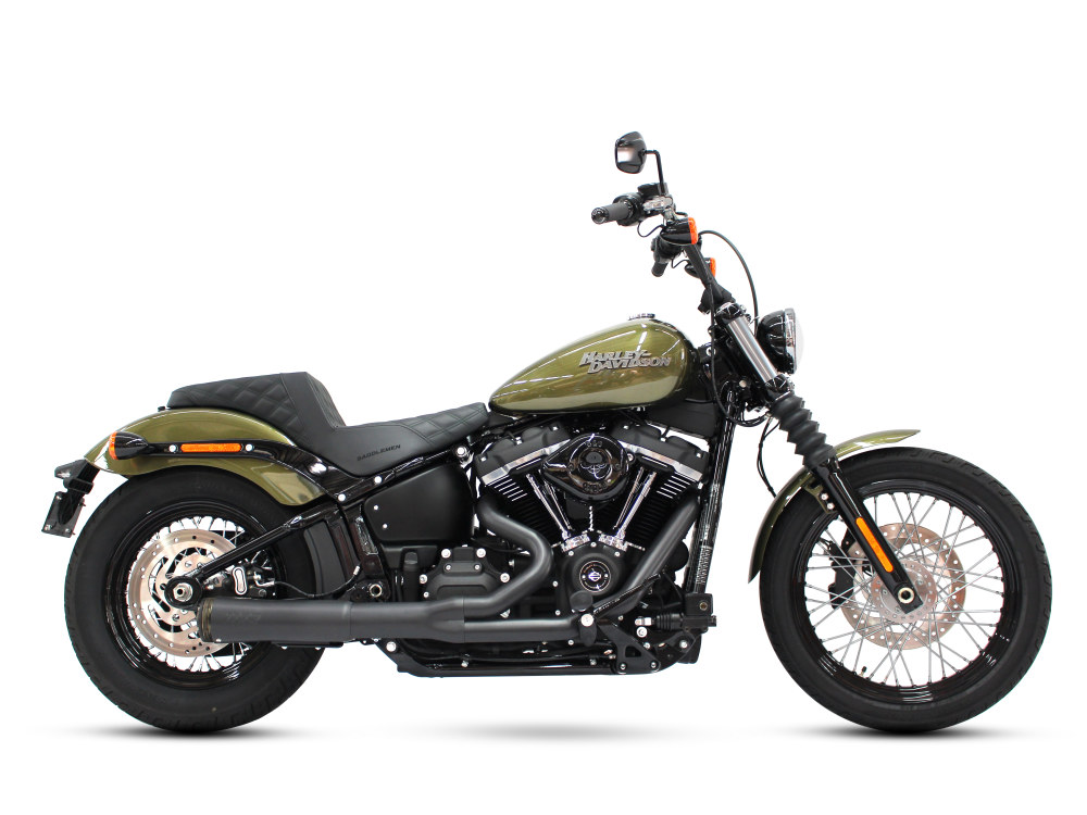 FatShot 2-into-1 Exhaust with Black Finish. Fits M8 Softail 2018up.