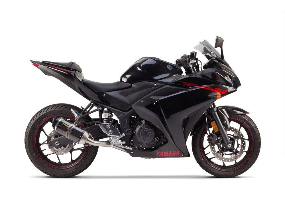 Carbon Full Exhaust System. Fits Yamaha Yamaha YZF-R3 2015up.