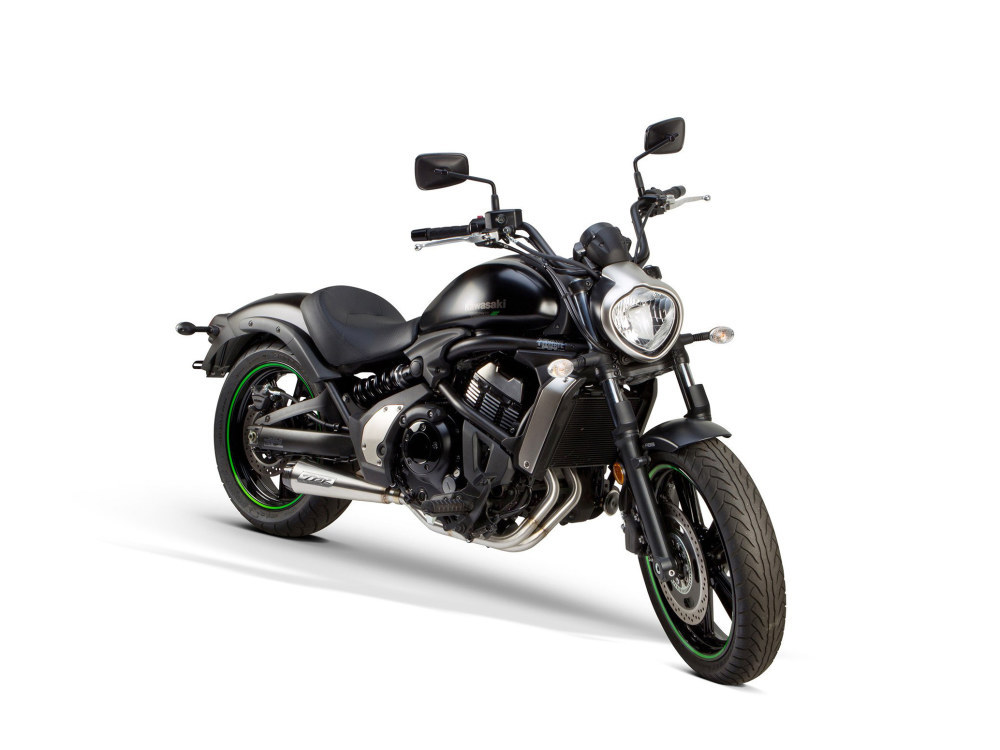 Comp-S 2-into-1 Exhaust - Stainless Steel with Carbon Fiber End Cap. Fits Kawasaki Vulcan 'S' 650cc 2015up.