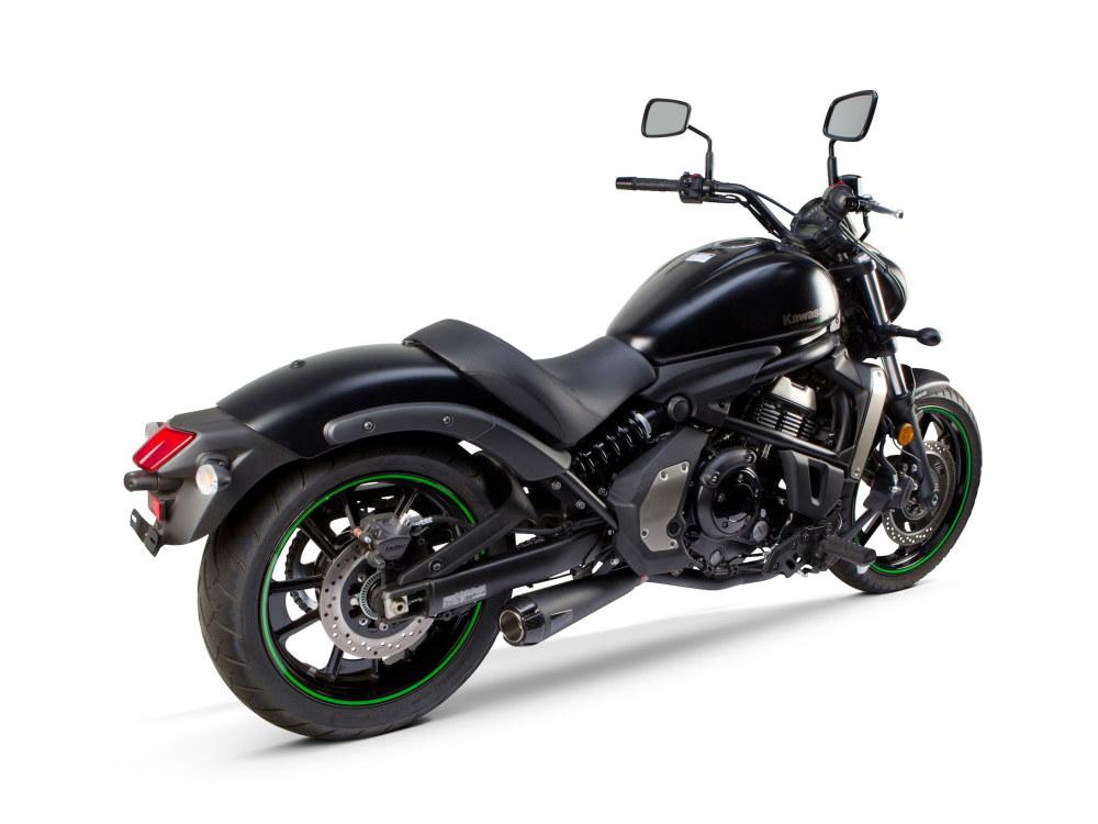 Black Comp-S 2-into-1 Exhaust with Carbon Fiber End Cap. Fits Kawasaki Vulcan 'S' 650cc 2015up