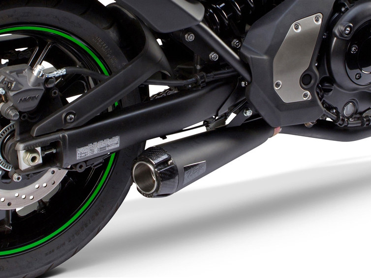 Comp-S 2-into-1 Exhaust - Black with Carbon Fiber End Cap. Fits Kawasaki Vulcan 'S' 650cc 2015up.