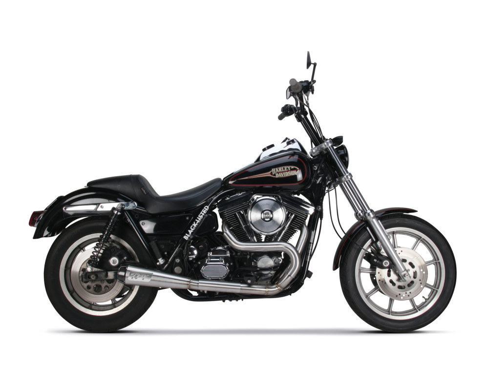 Stainless Steel Comp-S 2-into-1 Exhaust with Carbon Fiber End Cap. Fits FXR 1987-1994
