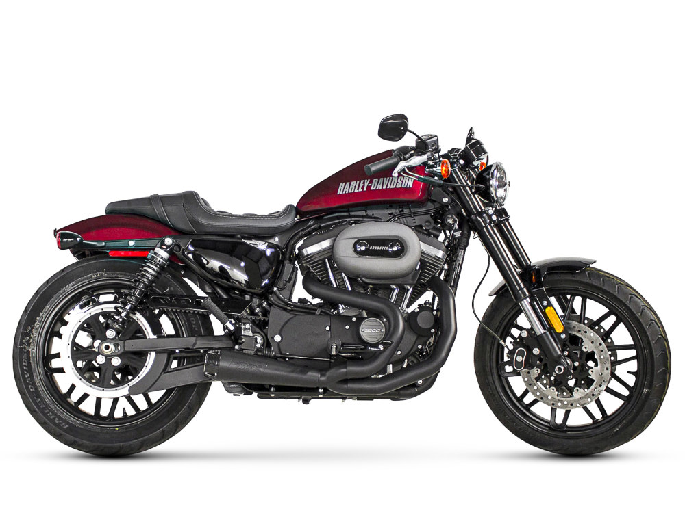 Comp-S 2-into-1 Exhaust - Black with Carbon Fiber End Cap. Fits Sportster 2014up.