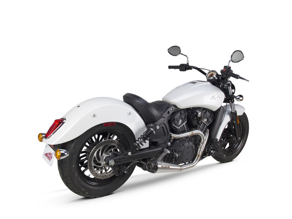 Comp-S 2-into-1 Exhaust - Stainless Steel with Carbon Fiber End Cap. Fits Indian Scout 2017up.