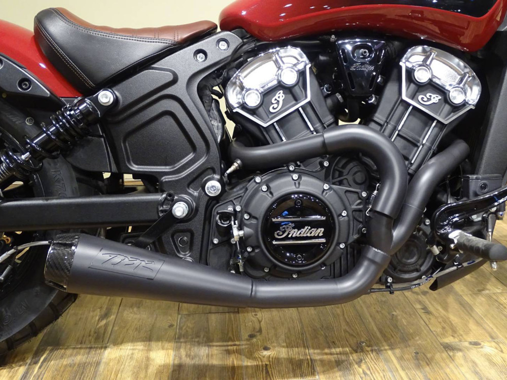 Black Comp-S 2-into-1 Exhaust with Carbon Fiber End Cap. Fits Indian Scout 2017up