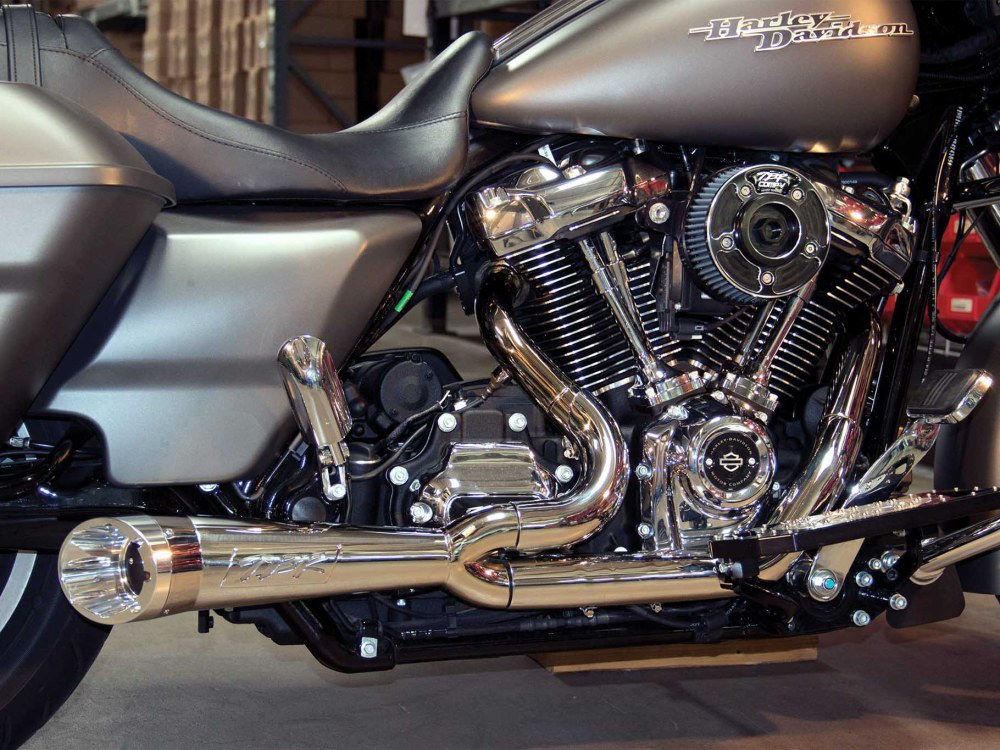 Turnout Polished Stainless Steel Comp-S Shorty 2-into-1 Exhaust. Fits Touring 2017up