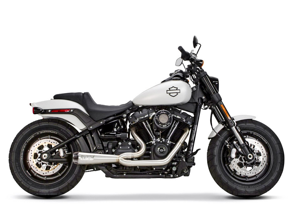 Comp-S 2-into-1 Exhaust - Stainless Steel with Carbon Fiber End Cap. Fits Softail 2018up with Non-240 Rear Tyre.