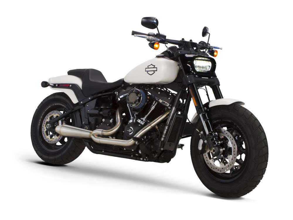 Megaphone Gen II 2-into-1 Exhaust with Stainless Steel Finish. Fits Milwaukee-Eight Softail 2018up Non-240 Rear Tyre Models.