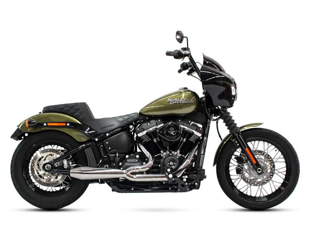Megaphone Gen II 2-into-1 Exhaust - Polished Stainless Steel. Fits Softail 2018up with Non-240 Rear Tyre.