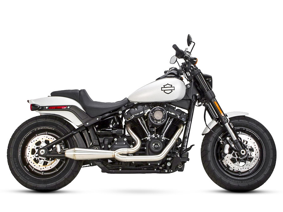Megaphone Gen II 2-into-1 Exhaust - Stainless Steel. Fits Softail 2018up with Non-240 Rear Tyre.