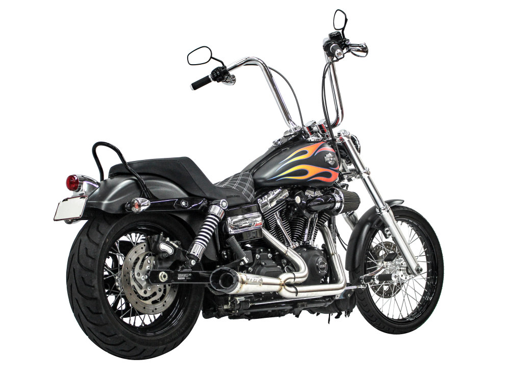 Shorty Turnout 2-into-1 Exhaust - Stainless Steel with Black End Cap. Fits Dyna 2006-2017.