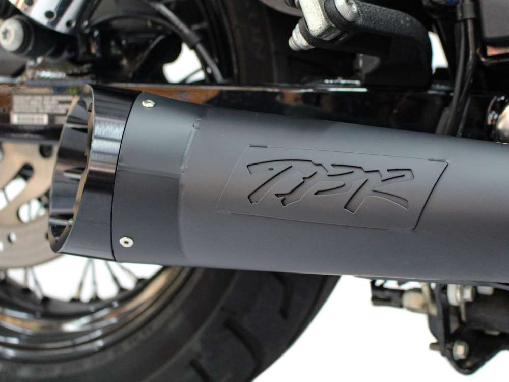 Shorty Turnout 2-into-1 Exhaust - Black with Black End Cap. Fits Dyna 2006-2017.
