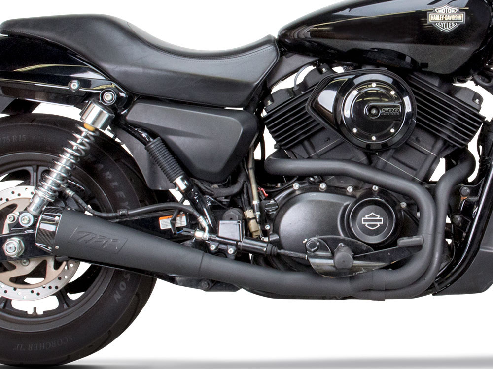 Black Comp-S 2-into-1 Exhaust with Carbon Fiber End Cap. Street 500 2015up
