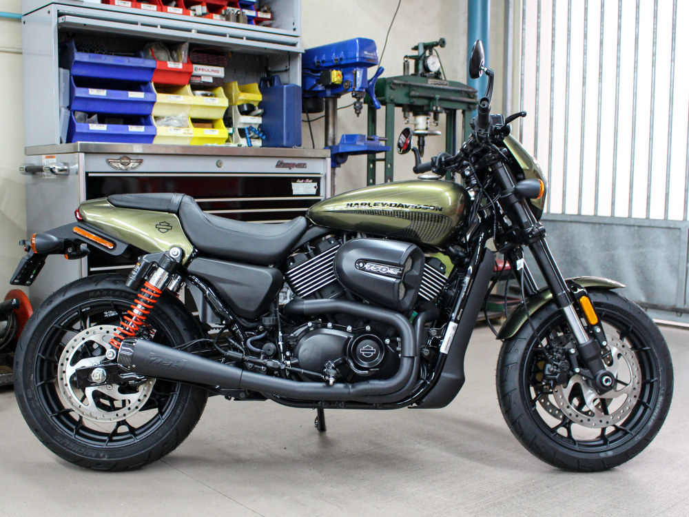Comp-S 2-into-1 Exhaust - Black with Carbon Fiber End Cap. Fits Street 500 & 750A 2015up.