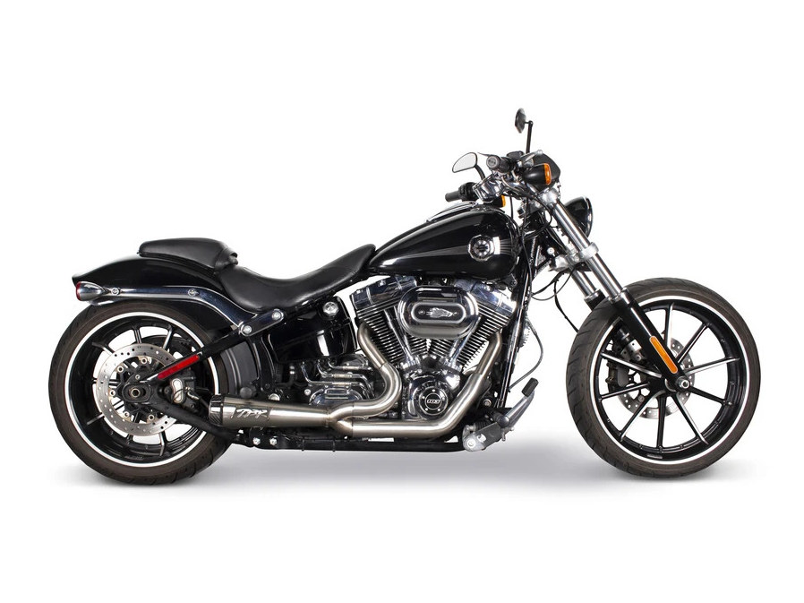 Comp-S 2-into-1 Exhaust - Stainless Steel with Carbon Fiber End Cap. Fits Softail 2000-2017 & Rocker/Breakout 2013-2017.