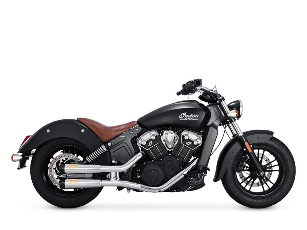 Tracker Mufflers - Chrome with Black End Caps. Fits Indian Scout 2015up.