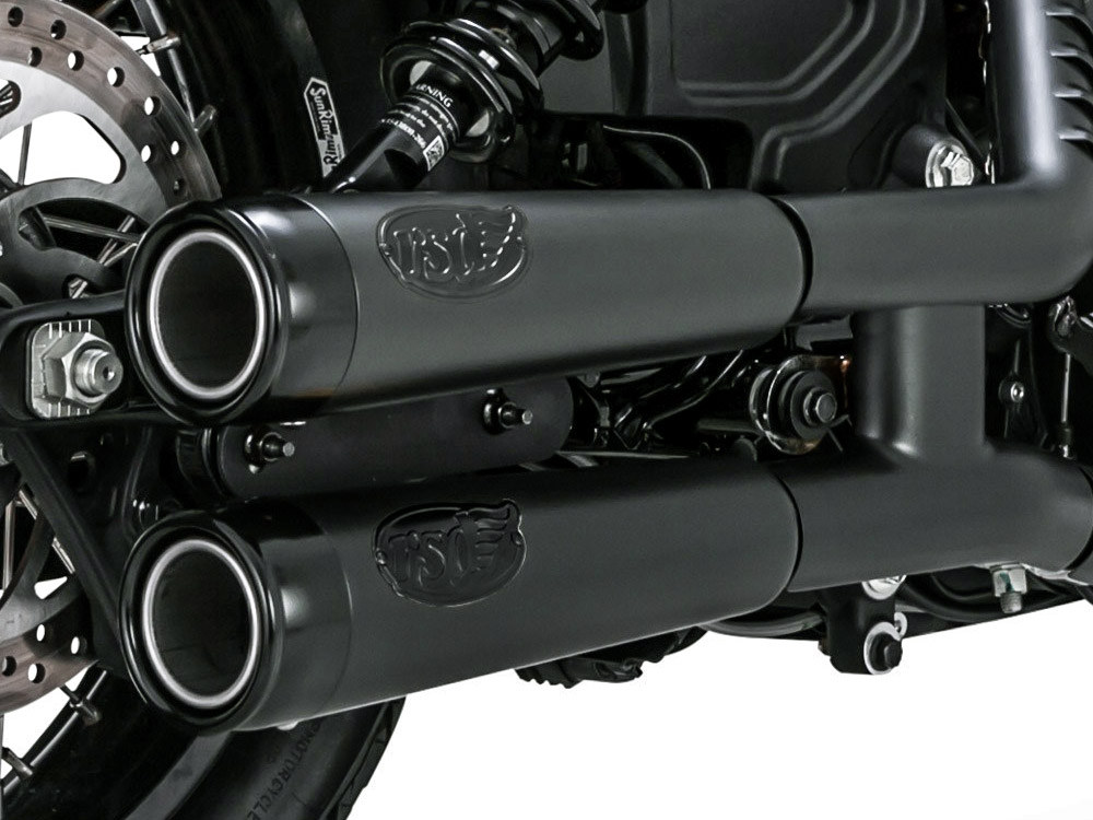 Tracker Mufflers - Black with Black End Caps. Fits Indian Scout 2015up.