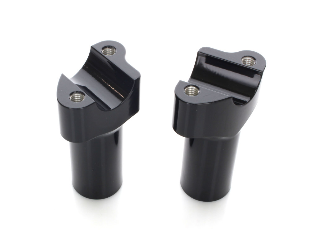 3-1/2in. Tall Risers with 1-1/4in. Thick Base – Gloss Black. Fits 1in. Handlebar.