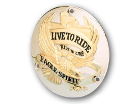 Live-to-Ride Derby Cover with Gold Finish. Fits Big Twin 1970-1998.