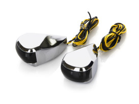 MRL Multi-Replacement Turn Signals with Smoke Lens, Amber Flashing & Chrome Finish.