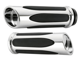 Deep Cut Comfort Handgrips - Chrome. Fits H-D with Throttle Cable.