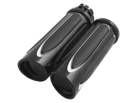 Handgrips; Deep Cut Comfort, Throttle Cable Application, Black Finish (Pair)