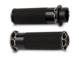 Fusion Beveled Handgrips - Black. Fits H-D with Throttle Cable.