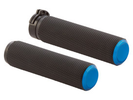 Knurled Fusion Handrips - Blue. Fits H-D with Throttle Cable.