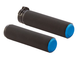 Knurled Fusion Handrips - Blue. Fits H-D 2008up with Throttle-by-Wire.