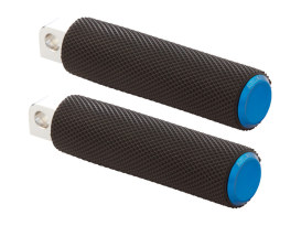 Knurled Fusion Footpegs - Blue. Fits H-D.