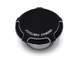 Vented, Beveled Fuel Cap - Black. Fits H-D 1997up.