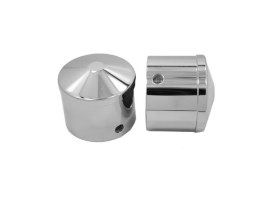 Front Axle Caps - Chrome. Fits Softail, Dyna, Touring, Sportster, Street & V-Rod with 25mm Axle.