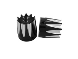 Excalibur Front Axle Caps - Black. Fits Softail, Dyna, Touring & Sportster with 3/4in. Axle.