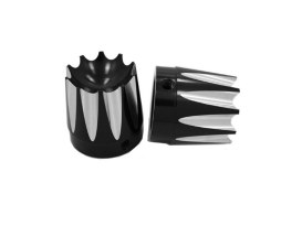Excalibur Front Axle Caps - Black. Fits Softail, Dyna, Touring, Sportster, Street & V-Rod with 25mm Axle.