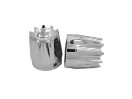 Excalibur Front Axle Caps - Chrome. Fits Softail, Dyna, Touring & Sportster with 3/4in. Axle.