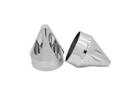 Spike Front Axle Caps - Chrome. Fits Softail, Dyna, Touring & Sportster with 3/4in. Axle.