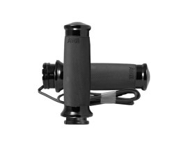 Heated Custom Contour Handgrips - Black. Fits H-D with Throttle Cable.