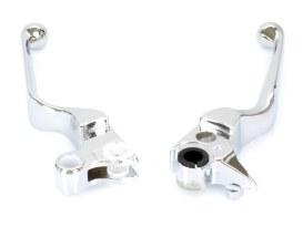 Wide Style Hand Levers with Chrome Finish. Fits Big Twin Models 1996-2006 & Sportster Models 1996-2003.