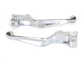 Wide Style Hand Levers - Chrome. Fits H-D 1982-1995.