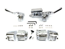 Handlebar Control Kit - Chrome. Fits Big Twin & Sportster 1982-1995 Models with Single Disc Rotors.
