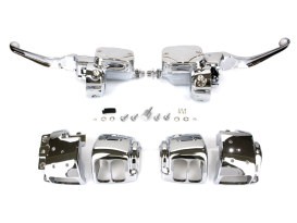 Handlebar Control Kit with Hydraulic Clutch - Chrome. Fits Big Twin 1996-2006 with Single Disc Rotors.