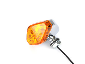 Mini Diamond Turn Signal with Amber Lense - Chrome.