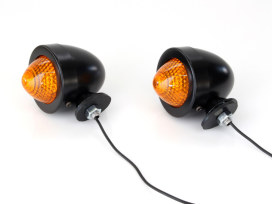 Bullet Turn Signal with Amber Lens - Black.