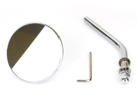 3in. Round Mirror with Short Stem - Chrome. Fits Left & Right.